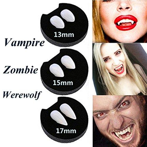 Hexie Halloween Vampire Fangs Zombie Zähne Zahnersatz Party Cosplay Requisiten Creepy Devil Horror Haunted Kostüm Dekorationen Supplies mit 1PCS Extra Tattoo Sticker (Vogelscheuche Kleinkind Kostüme)