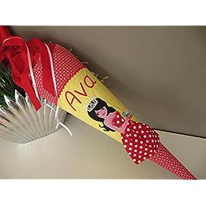 Prinzessin rot-gelb 3D-Kleid Schultüte Stoff + Papprohling + als Kissen verwendbar