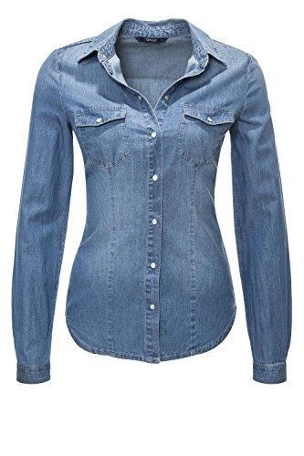 ONLY Damen Hemd Onlrock IT Fit MB Dnm Shirt BJ7887 Noos, Blau (Medium Blue Denim Medium Blue Denim), 42