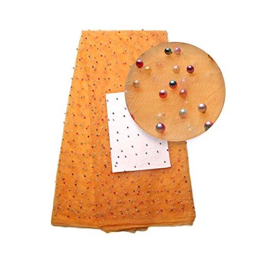 kenlace 5Yards/lot Nigerianisches perlenbesetzte Spitze Stoff African Spitze Stoff 2017Spitze billig afrikanischen Kordel Spitze mit RGB Bead für Party Orange