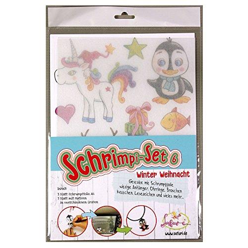 Schrimpi-Set Winter/Weihnacht, Schrumpffolie, Schrumpffolien-Set, Einhorn, Pinguin, Shrink-Art