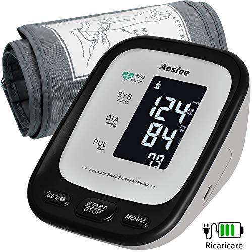 Misuratore di Pressione da Braccio Professionale, Sfigmomanometro Digitale con USB Ricaricabile Misurazione Automatic di Pressione Arteriosa e Battito Cardiaco, 2 x 90 Misurazioni Memoria