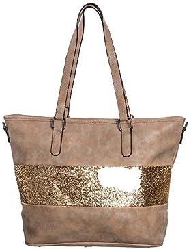Damen Handtasche Shopper schultertasche umhängetasche streifen Stern Glitzer Cut out Vintage look metallic