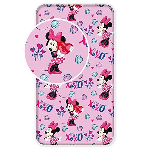 L-S KIDS BOUTIQUE Disney Minnie Maus Spannbettlaken, 90 x 200 cm, für Einzelbett, 100% Baumwolle (Bettwäsche Boutique)