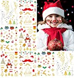 Christmas Temporary Tattoos for Children,Non-Toxic Bronzing Tatoo Animal Tattoo Stickers Tattoos Kids Party Waterproof Fun Decoration 8 Sheets Gold and Red