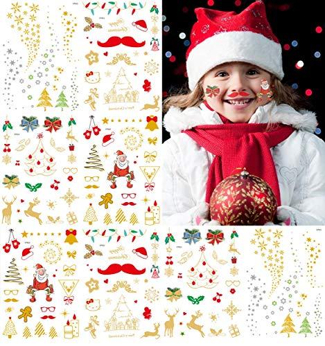 Natale tatuaggi temporanei per bambini, non tossico bronzing tatoo animal tattoo adesivi tatuaggi kids party fun decorazione impermeabile 8fogli oro e rosso