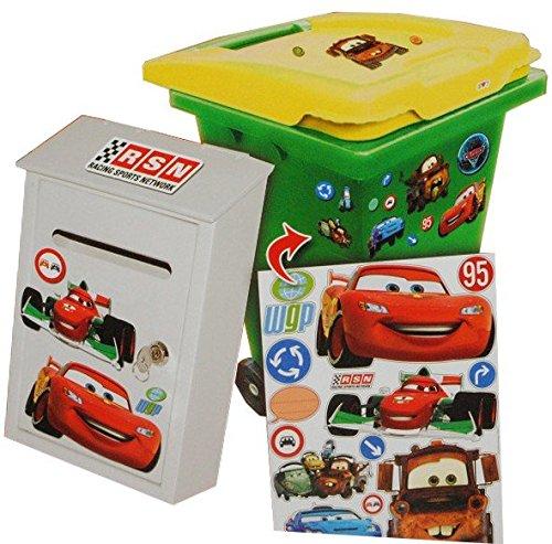 Unbekannt 15 TLG. Set Aufkleber für Mülltonne + Briefkasten - Disney Cars Auto Lightning Mc Queen - Wasserfest - Wetterfest für Innen & Außen