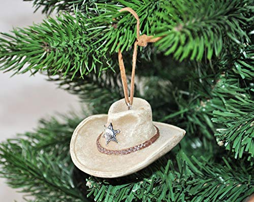 Kaemingk Western Christbaumschmuck Stiefel Cowboy Hut Büffel Christbaumkugel Baumschmuck Indian, Motiv/Art:Hut Sand