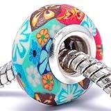 Charm Buddy Charm Anhänger Blume Acryl Grün Multi Fimo Bead Versilbert für Pandora Troll Charm Armbänder