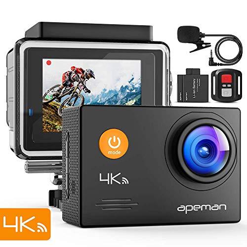 APEMAN 4K WiFi Cámara deportiva A77 - ¡Captura todas las maravillas de tu vida!   La APEMAN A77 es una cámara de acción 4K potente y fácil de usar con vídeo 4K, foto de 16MP, control de Wi-Fi, operación de control remoto y diseño a prueba de agua.  ✅...