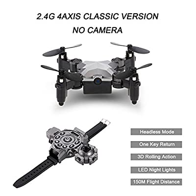Mini Foldable Drone Remote Control Quadcopter,Webeauties 2.4G 4 Axis Watch Style RC Mini Helicopter Portable Pocket Drone with Wifi 0.3MP Camera