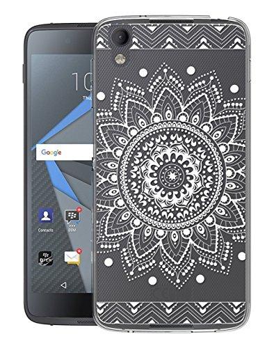 Sunrive Für BlackBerry DTEK50 Hülle Silikon, Transparent Handyhülle Schutzhülle Etui Case Backcover für BlackBerry DTEK50(TPU Blume Weiße)+Gratis Universal Eingabestift