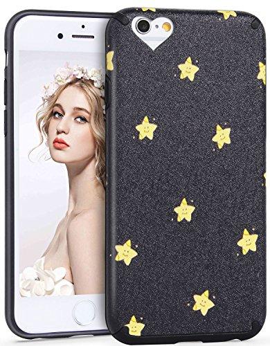iPhone 6 6S Hülle, Imikoko® iPhone 6 6S Rundumschutz Handy Hülle Schutzhülle Weich Silikon TPU Case Super Sweet Cute für Girl Frauen Mädchen(Schwarz Star, 4.7