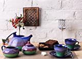 Caffeine Ceramic Handmade Teaset, Kettle, Sugar and Milk Container, Cups with Saucer, 6-inch(Blue/Green) - 15 Pieces