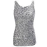 IMJONO.Frauen Shimmer Glam Pailletten verschönert Sparkle Play Tank Top Weste Tops(Silber,Small)