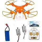 OneBird SYMA X8W Dron Quadcopter WiFi Tiempo real Vídeo 2.4G 4 canales 6 Eje Venture con la cámara de 0.3MP Grande RC Quadcopter FPV - Dron teledirigido con cámara de video (X8W+Batería*1+Motor*2, Naranja)