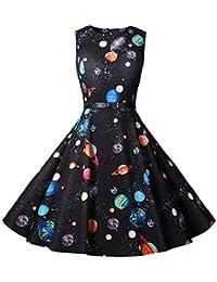 49a23e14d8 Sylar Vestidos Cortos De Fiesta Invierno Moda Retro Hepburn Sin Mangas  Planeta Impresión Vestido Mujer para