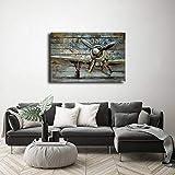DharmaDecor – 100% Handgemachte Handgemalte Gemälde 3D Malerei Massivholz mit Metall Flugzeug Wandkunst Kunstwerk Bild 3D Gemälde abstraktes Art Decor für Wohnzimmer, Schlafzimmer - 120x80cm