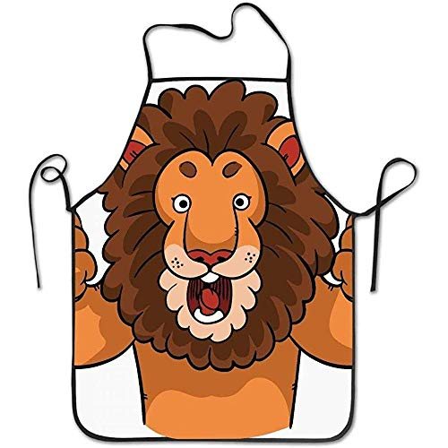 Kitchen Apron Cartoon Lion Giving Two Thumbs Up Funny Cooking Apron for Men - BBQ Grill Kitchen Chef Barbecue Gifts, One Size Fits Most