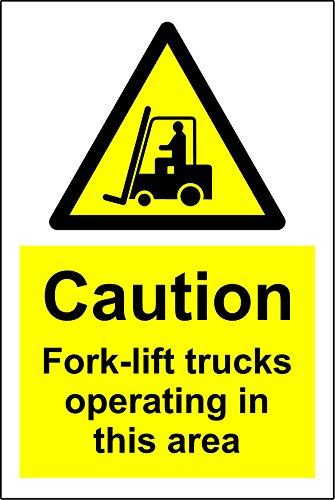 Warning Caution fork-lift trucks operating in this area safety sign - 1.2mm rigid plastic 300mm x 200mm