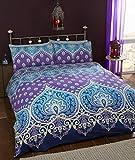 Asha Saphire Indiano Design Set Copripiumino e 2Federa Set di Biancheria da Letto, Colore: Blu/Viola
