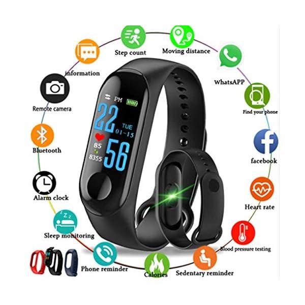 BIYI M3 Unisex Health Tracker Smart Band Reloj Pulsera Pulsera Fitness Tracker Monitor Pulsera (Negro) () 3