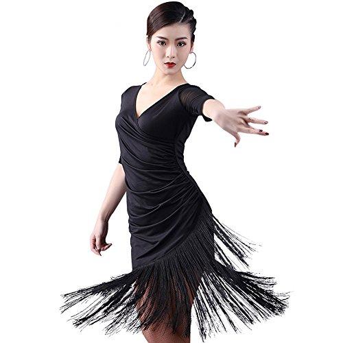 (Frauen Classic Latin Dance Kleid Büste Rock Quaste Rock Milch Seide Tanz Kleid Tanz Show Kostüm,M)