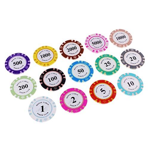 MagiDeal 14 Stück Poker Chips Casino Münzen Clay Poker Chips Spiel Texas Table Game
