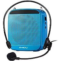 SHIDU Amplificador de voz (18 W) con 1200 mAh batería de litio y el micrófono con cable para profesores/Trainer/guía de viajes/Yoga Profesores y más