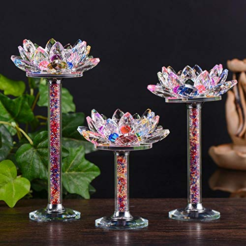 WXQDD-Candlestick Kristall Lotus Kerzenhalter Feng Shui Schüssel Kerzenhalter Für Kandelaber Mittelstücke Hochzeit Home Bar Party Decor Tisch Ornament, L (21X11,5 cm)
