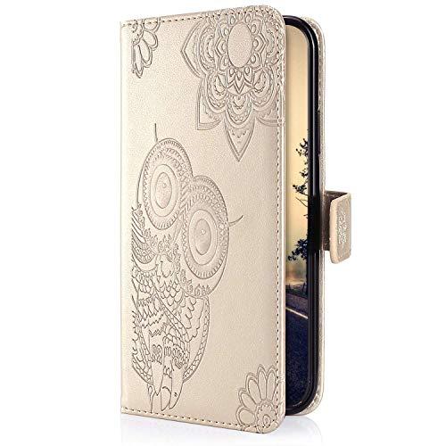 Uposao Kompatibel mit Samsung Galaxy S10e Handyhülle 3D Eule Mandala Blumen Muster Schutzhülle Lederhülle Leder Tasche Klapphülle Wallet Flip Case Cover Magnet Stand Kartenfächer,Gold