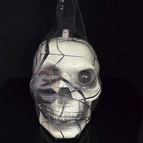 -WEB-6167 Halloween-Totenkopf im Spinnennetz, rote LED-Augen, hängende Dekorationen, gruselig, Party-Dekoration, Indoor Outdoor, mehrfarbig ()