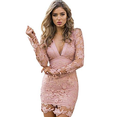 Patgoal Le donne pizzo floreale Vestito aderente Backless mini abito da sera S-XL