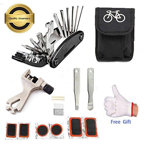 fahrradschlauch kleber July Miracle Fahrradreparatur-Werkzeugsatz, 16 in 1 Multifunktions Fahrrad Mechaniker Fix Tragbare Werkzeuge Set Tasche mit Kette Werkzeug und Reifenpatch Hebel