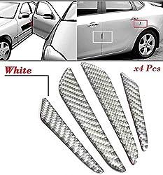 4Pcs White Real Carbon Fiber Car Door Edge Protection Guard Trims Stickers Auto Edge