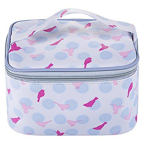 TaylorHe Make-up Bag neceser de belleza impermeable Bolsa de maquillaje Bolsas de aseo, Bolsa para lavar, estuche de lápices pájaros lunares