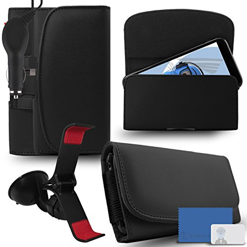 iTALKonline Samsung Galaxy A5 SM-A500G/DS Black PREMIUM PU Leather horizontal Executive Side Pouch Case Cover Holster with Belt Loop Clip and Magnetic Closure and 1000 mAh Coiled In Car Charger LED Indicator and Overload Protection  available at amazon for Rs.660