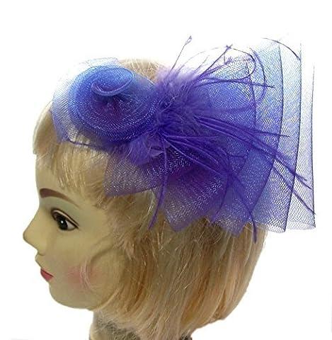 Haar Fascinator Cascade in lila mit Swirl UND Floaty Federn