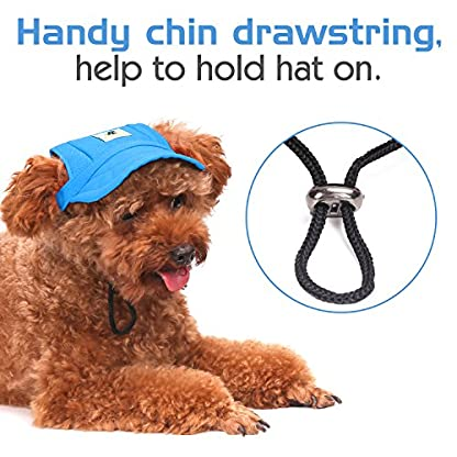 Pawaboo Dog Baseball Cap, Adjustable Dog Outdoor Sport Sun Protection Baseball Hat Cap Visor Sunbonnet Outfit with Ear… 5