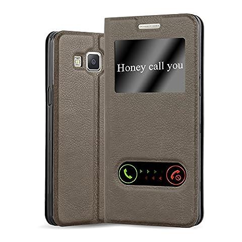Cadorabo - Etui Housse pour Samsung Galaxy A5 (5) - Modèle 2015 avec stand horizontale, Fermeture Magnétique Invisible et 2 Fenêtres de Visualisation dans Désign View – Coque Case Cover Bumper Portefeuille en MARRON-PIERRE