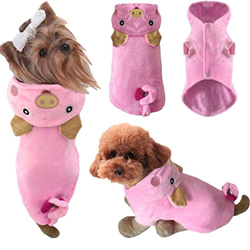 chen Hundekleidung, Hund Winter Dicken Kostüm Kleidung, Haustier Cosplay, Hundekleidung Hundemantel Hundejacke Hundepullover, für kleine Hund Und große Hund (M, Schweinchen-Rosa) (Kleine Schweinchen Kostüm)