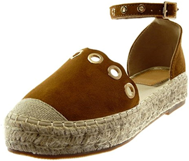 ded2343deae Angkorly Women s Fashion Shoes Sandals Espadrilles Cord - Platform 16325  Shoes - Ankle Strap - Perforated - Golden - Cord Block... B07BLJZTJZ Parent  55b8200