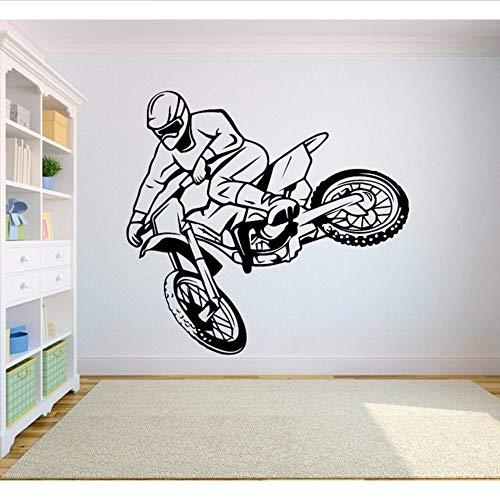Wymw Wandaufkleber Decalfree Stil Dirt Bike Aufkleber Schlafzimmer Sport Dirt Bike Motorrad Personalisierte Jungen Teenager Zimmer 56 * 60 Cm (Gold Dirt Bike)