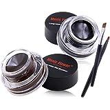 Official Black+Brown Gel Eyeliner Waterproof With 2 Brushes Long-lasting Smudge-proof Easy to Wear