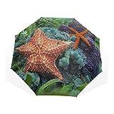 Ombrello da viaggio Spiaggia tropicale, Spiaggia Starfish Anti Uv Compact 3 Fold Art Ombrelli pieghevoli leggeri (all'esterno di stampa) Antivento Protezione solare da sole Ombrelli da donna Ragazze