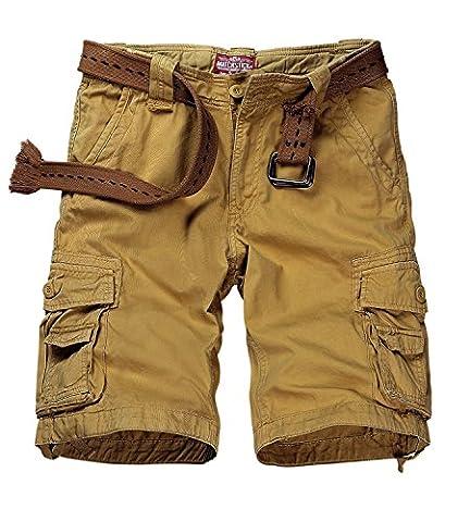 Match Mens Twill Cargo Shorts Quick-dry Summer Shorts S3612(3612 Khaki,34W x Regular)