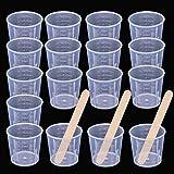 Chougui 50 Stück 30 ml durchsichtige Messbecher mit 50 Stück Holzrührstäbchen zum Mischen von Farbe, Flecken, Epoxid, Harz