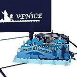 """'Carte Pop Up""""Venise–Panorama & gondel Fahrt–3d Carte de vœux de souvenir, carte d'anniversaire, de voyage, de bons d'Städter eise, miel, mariage Voyage & Fiançailles"""