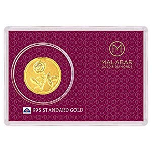 Malabar Gold and Diamonds 0.16 gm, 24k Yellow Gold Rose Impression Precious Coin
