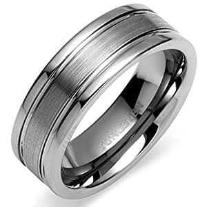 Peora Valentine 8.15 mm Two Tone Double Grooved Tungsten Carbide Ring Band for Men (PTR592-11)